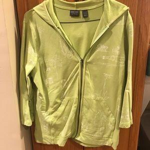 Chico's Green Zipper Sweatshirt w/ Playful Monkeys